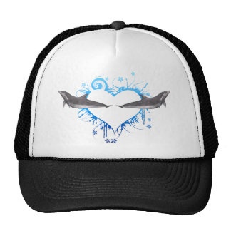 Heart with Dolphins blue Trucker Hat