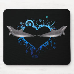 Heart with Dolphins blue Mouse Pad