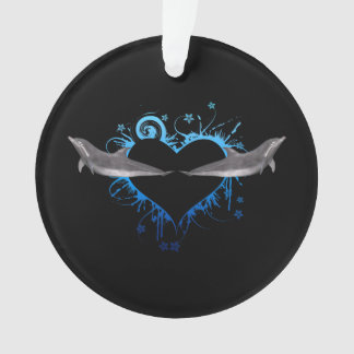 Heart with Dolphins blue Ornament