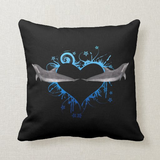 Heart with Dolphins blue Pillows