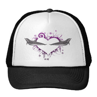 Heart with Dolphins purple Trucker Hat