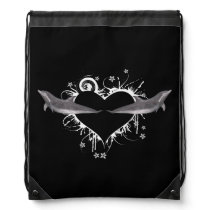 Heart with Dolphins white Drawstring Bag