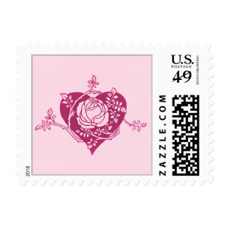 Heart with Entwined Rose Branch Postage