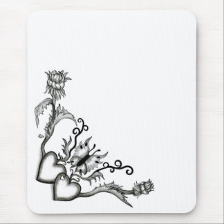 Heart with Flower and Butterfly, black and white Mouse Pad