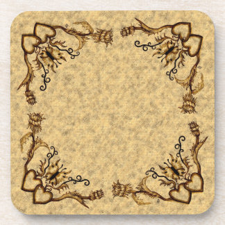 Heart with Flower and Butterfly Drink Coaster