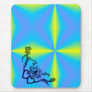 Heart with Flower and Butterfly Mouse Pad