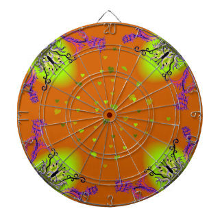 Heart with Flower and Butterfly on green orange Dart Board