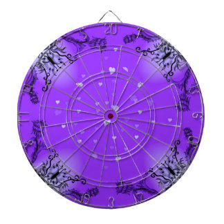 Heart with Flower and Butterfly on purple Dart Board