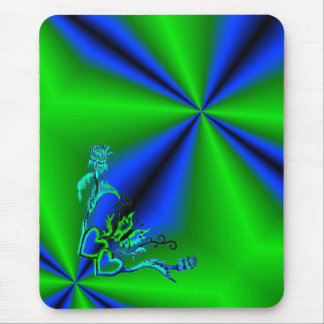 Heart with Flower and Butterfly on Rainbow Mouse Pad
