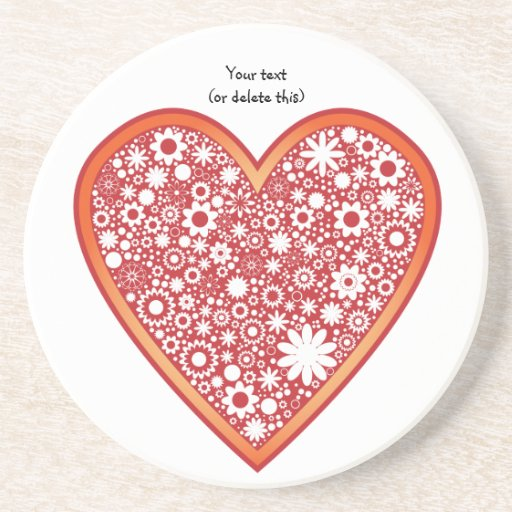 heart with flowers beverage coasters