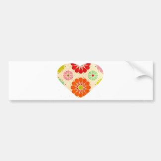Heart with flowers bumper sticker
