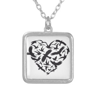 Heart with flying birds square pendant necklace