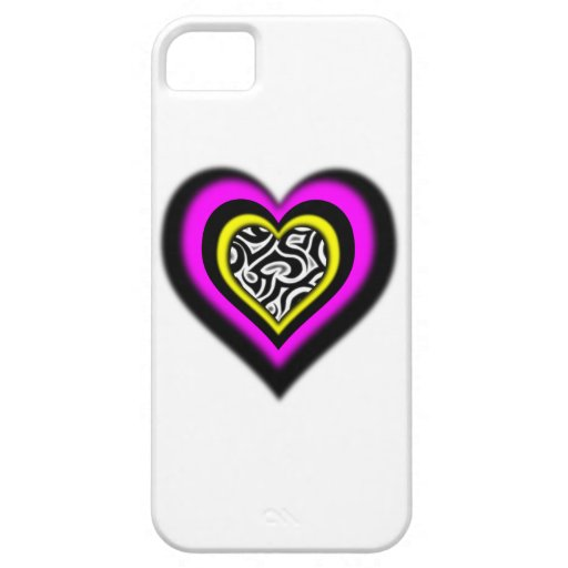 heart with fun zebra pattern iPhone 5 cover