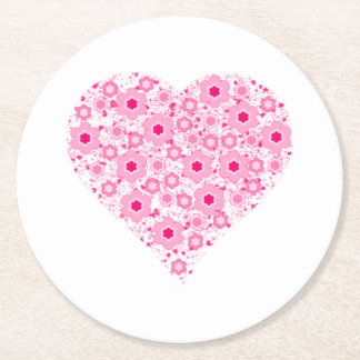 Heart with Galaxy Flowers and Stars Round Paper Coaster