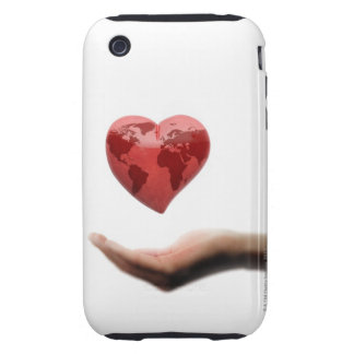 Heart with global map over female hand tough iPhone 3 cover
