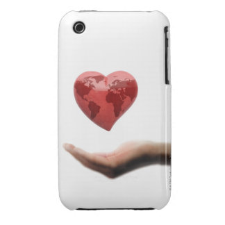 Heart with global map over female hand iPhone 3 cases