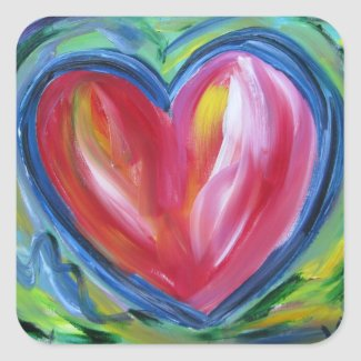 Heart with Hope Painting Stickers Art Labels