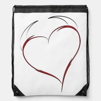 Heart with Horns Drawstring Bag