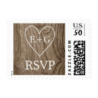 Heart with initials on wood wedding RSVP Postage