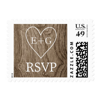 Heart with initials on wood wedding RSVP Postage Stamp