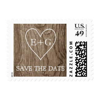 Heart with initials on wood wedding Save the Date Postage