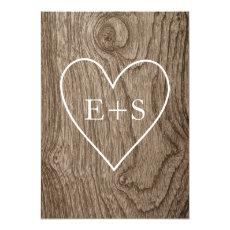 Heart with initials wood grain rustic wedding 5