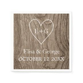 Heart with initials wood grain rustic wedding standard cocktail napkin
