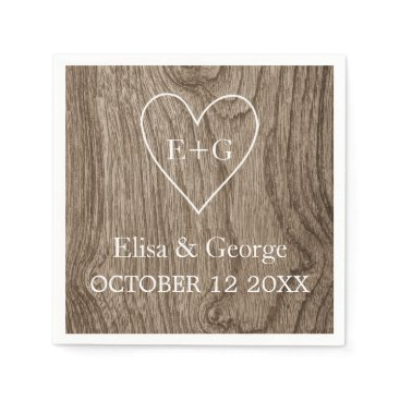 Valentines Themed Heart with initials wood grain rustic wedding paper napkin