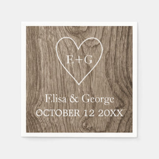 Heart with initials wood grain rustic wedding standard cocktail napkin