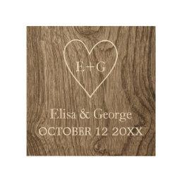 Heart with initials wood grain rustic wedding wood wall art
