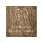 Heart with initials wood grain rustic wedding wood print