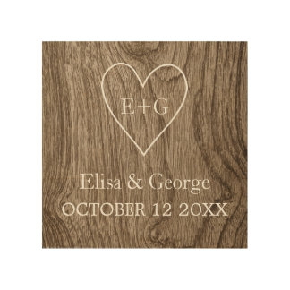 Heart with initials wood grain rustic wedding wood print
