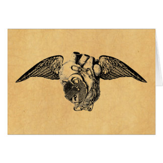 Heart with Locks and Wings Card