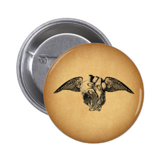 Heart with Locks and Wings Pinback Button