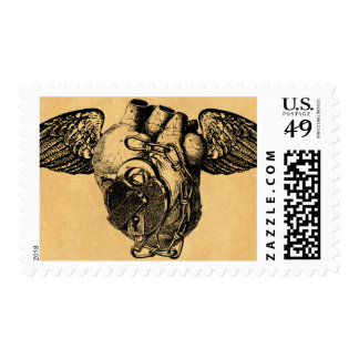 Heart with Locks and Wings Postage