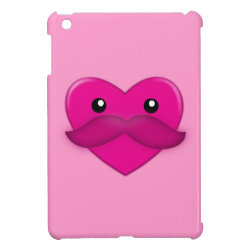 Heart with Moustache and Pattern iPad Mini Covers