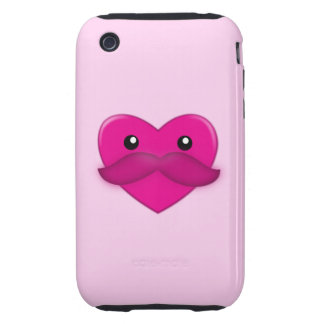 Heart with Moustache Cellphone Case iPhone 3 Tough Covers