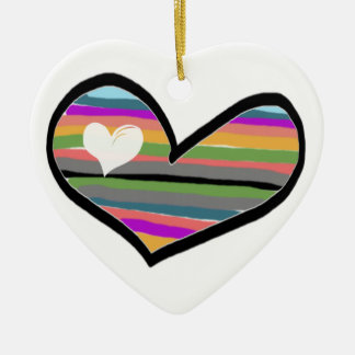 heart with multicolored touch filled ceramic ornament
