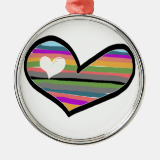 heart with multicolored touch filled metal ornament