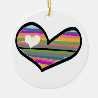 heart with multicolored touch filled christmas tree ornaments