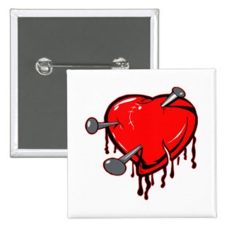 Heart with Nails Button