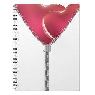 Heart with Open Zipper 2 Spiral Notebook