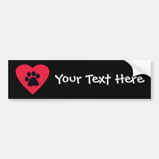 Heart with Paw Print Bumper Sticker