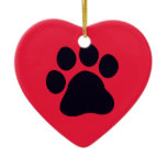 Heart with Paw Print Ceramic Ornament
