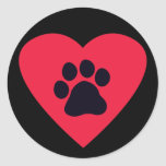 Heart with Paw Print Classic Round Sticker