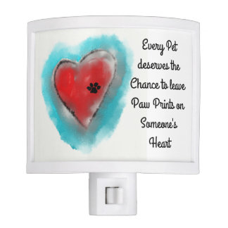 Heart with Paw Print Night Light
