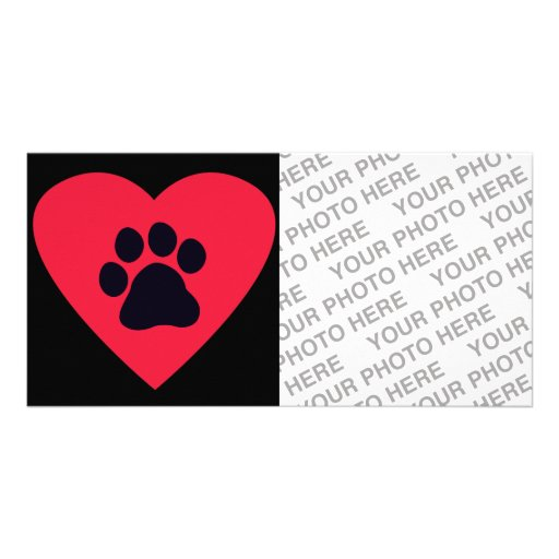Heart with Paw Print Photo Card