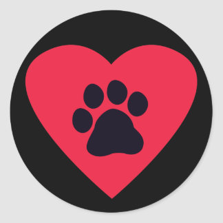 Heart with Paw Print Sticker