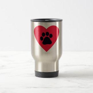 Heart with Paw Print Travel Mug