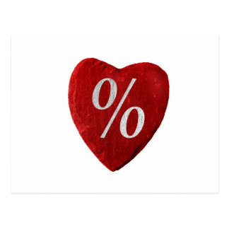 Heart with per cent symbol postcard